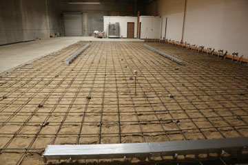 The rebar is set, looking from the brewhouse back towards our future taproom.