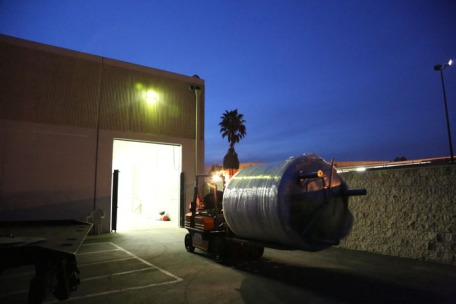 We loaded in from 2pm until 7pm. A beautiful night to be receiving our tanks.