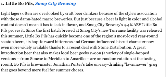 LA Weekly Top 10 Beers of 2013!