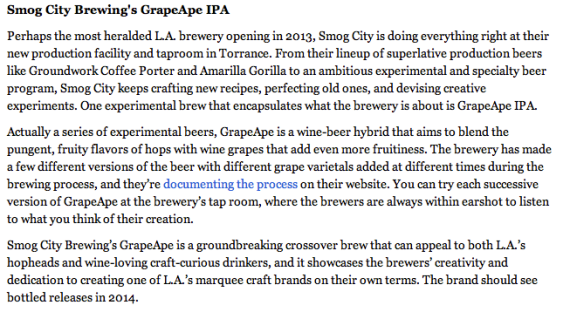 LA Times, Most Important So Cal Craft Beers of 2013