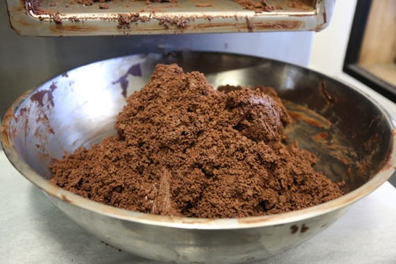 First round ground chocolate. The chocolate will go through the stones 4 more times before it is finished.
